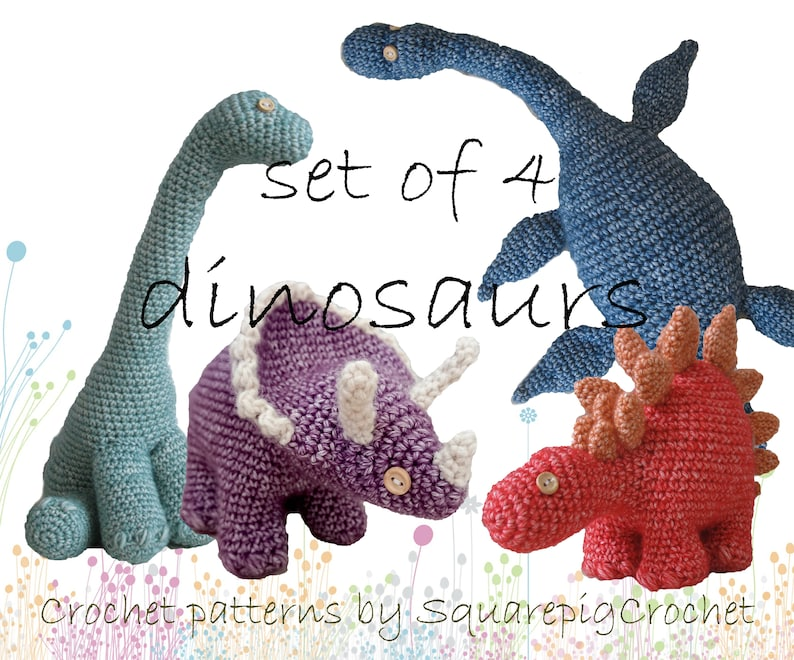 DInosaur crochet patterns set of 4 image 0