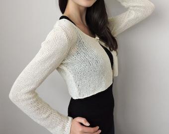751097500b2 Hand knitted bridal cardigan Cropped cardigan Knit crop top Womens sweater  Knit women cardigan Crop sweater Ivory bolero Wedding cardigan