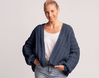 Hand knit women shrug Chunky loose Knitted Linen cotton summer Bolero cover up with pom pom