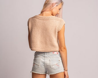Cotton Crop Top, Hand Knit Short Top, Ivory Cotton Top, Sleeveless Sweater, Summer Knitwear, Chunky Knit Blouse, Cozy Knit Top, Boho Top