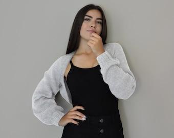 White Knitted Bolero, Bridal Cropped Bolero, Long Sleeves Shrug, Bridal Cover Up, Mohair Cropped Cardigan,Bomber Shrug,Crop Sweater Cardigan