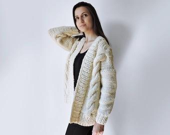 Hand Knitted Cardigan, Chunky Knit Jacket, Wool Cable Knit Bomber, Women Boho Knit Cardigan, Oversized Sweater Cardigan, Bulky Cardigan