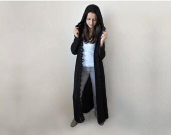 Hooded cardigan women Duster coat Extra long womens sweaters Wool sweater Crochet hem Black duster Long knit cardigan Gothic coat