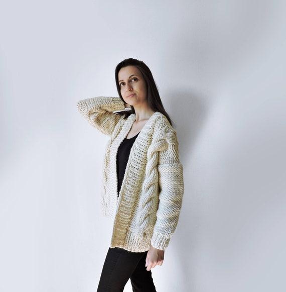 Bulky Chunky sweater Womens sweaters Oversized sweater Knit coat 34 length sleeve cardigan Knit jacket Knitted cardigan Knitted coat