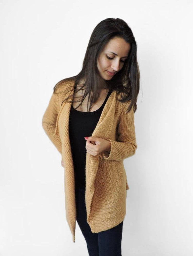 077e278502 Cardigan di lana cappotto maglia accogliente cardigan morbido Beige sciolto  maglia cammello calda lana maglia maglione lungo Womens inverno maglione ...