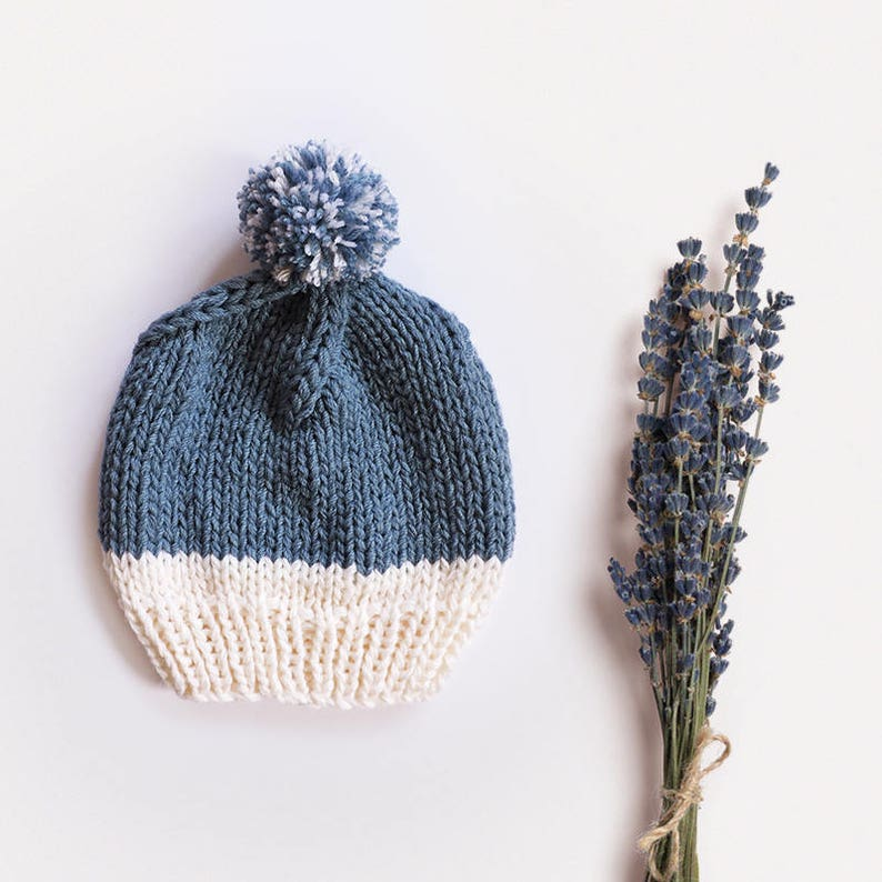 Wool slouchy beanie hat Hand knit beanie Unisex Men beanie with pom pom Two colored Womens winter hats Bobble hat Chunky ski hat Blue Ivory