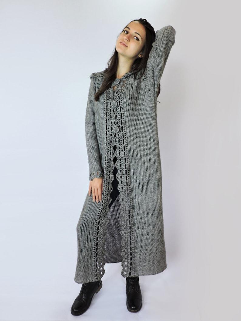 Hand knitted sweater Womens sweaters Knit jacket Cardigans Women knit coat Duster coat Grey Extra long cardigan Hooded sweater Wool sweater