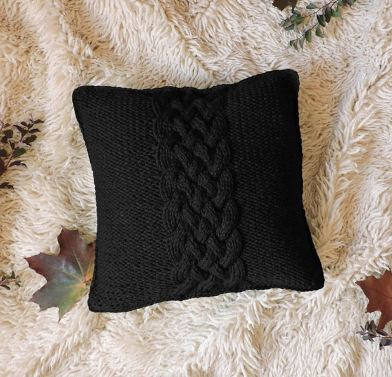 Magnificent Knit Pillow Cushion Hand Knitted Throw Pillow Chunky Pillow Cover Blue Cable Knit Cushion Case Decorative Couch Handmade Rustic Home Decor Theyellowbook Wood Chair Design Ideas Theyellowbookinfo