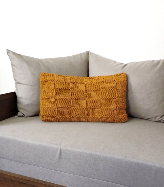 Awe Inspiring Hand Knitted Throw Pillow Case Knit Chunky Pillow Cover Ochre Sweater Pillow Cushion Case Decorative Couch Pillow Handmade Rustic Home Decor Theyellowbook Wood Chair Design Ideas Theyellowbookinfo