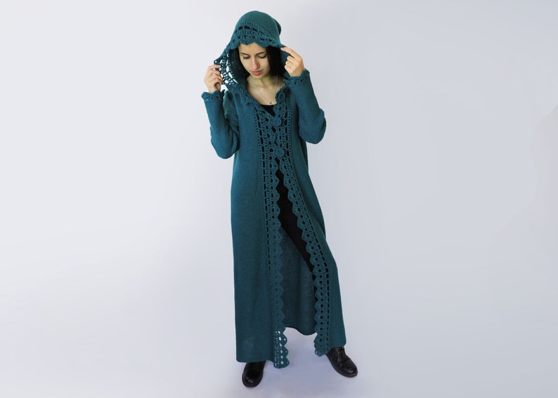 28587cc3b431a1 Hooded cardigan women Duster coat Extra long womens sweaters