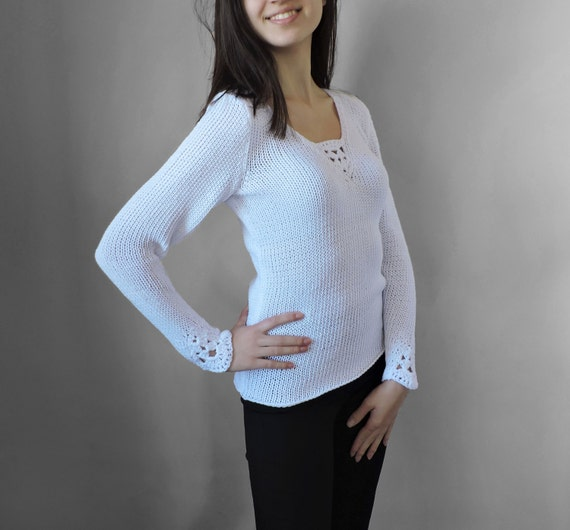 knit knit White Cotton summer Cotton Women wear White blouse Light blouse Elegant top Crochet blouse sleeve blouse top long dvwSdqH