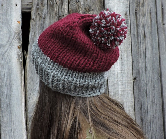 Wool slouchy beanie hat Burgundy beanie men Beanie with pom  51464965b12