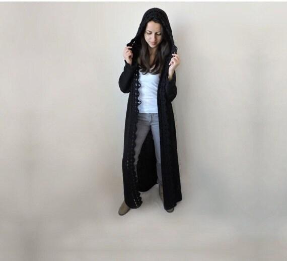 Extra Lange Damen Pullover Mit Kapuze Strickjacke Frauen Etsy
