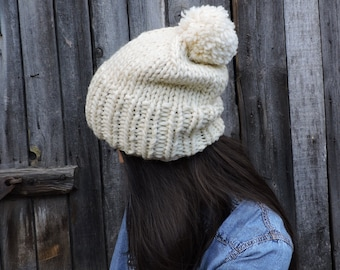 Ivory wool slouchy beanie hat Mens beanie with pom pom Hand knit hat Womens hat Slouch hat Bobble hat Chunky ski hat Ivory hat
