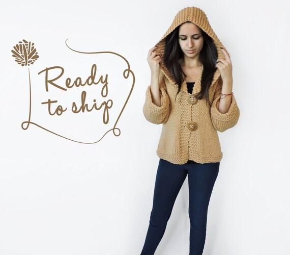 sleeve winter large beige button Handmade cozy Extra Big Long Warm hooded merino sweater Knit wood cardigan wear cardigan Sqfxt4