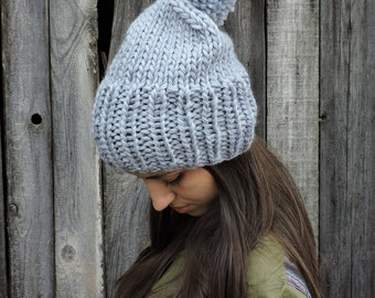 Gray wool slouchy beanie hat Mens beanie with pom pom Hand knit hat Womens hat Slouch hat Bobble hat Chunky ski hat Gray hat