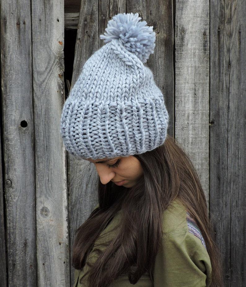 8b82ecda9aa Gray wool slouchy beanie hat Mens beanie with pom pom Hand