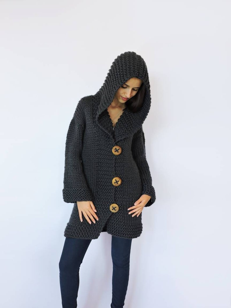 Hand knitted sweater Womens sweaters Knit jacket Hood  5fb3a305d