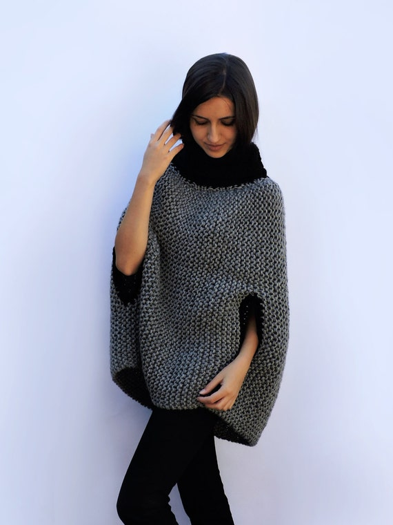 wrap cape Coat cardigan Loose High Kimono Knit wool poncho sweater Winter Outerwear sweater Gray neck coat Oversized poncho ponchos cape wO0n04aqP