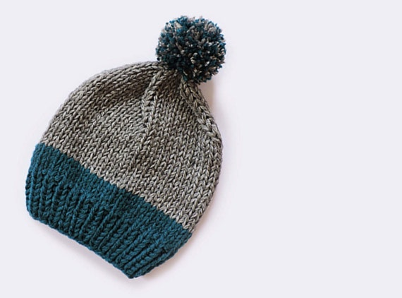 3fc3b02a Wool slouchy beanie hat Hand knit beanie Unisex Men beanie with pom pom Two  colored Womens winter hats Bobble hat Chunky ski hat Gray Blue
