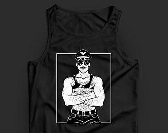Macho Harness Daddy Tank Top — Sexy LGBTQ gay art shirt