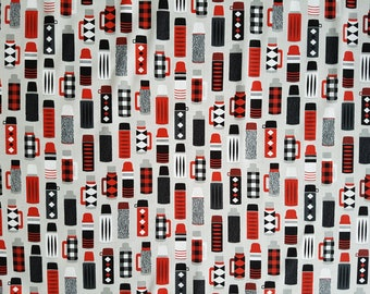100% cotton red and grey patterned Fabric