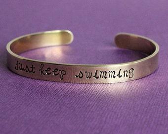 Personalized Brass Cuff Bracelet - Just Keep Swimming Cuff Bracelet - Custom Quote Gold Cuff - Brass Bracelet - Personalized Quote Cuff