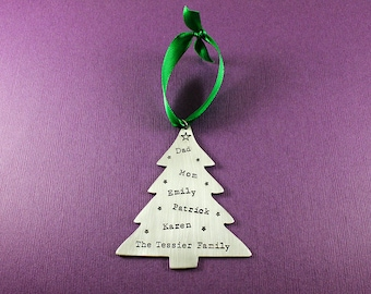 Personalized Christmas Ornament - Custom Christmas Tree Ornament - Stamped Ornament - Family Names on Christmas Tree Shaped Ornament -