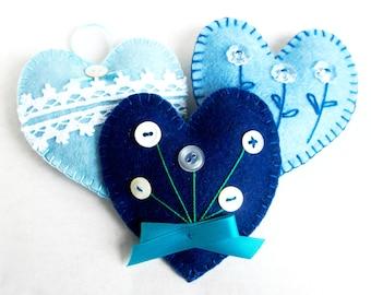 Heart ornament felt, set of 3, blue, button flower, handmade, Mother's day, Birthday gift, Christmas ornament, wedding decor, home decor