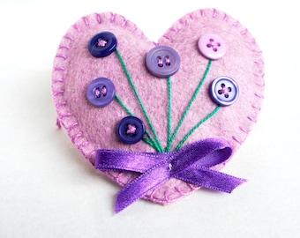 Heart ornament felt,with button flowers, handmade, Birthday, Valentine's day gift, Wedding, home decor, Christmas ornament, violet
