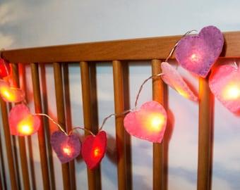 Heart String Lights felt, heart night light felt, nursery light, Christmas light, Christmas decor, heart light garland