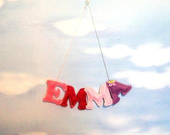 Name banner felt, girl, Felt letter, Alphabet Letters, custom name banner, Nursery Name Banner, hanging decor, name garland, personalized