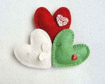 Heart felt ornament, set of 3, hope, faith, love sign, handmade, Christmas ornament, Birthday gift, Wedding,  Valentine's day, Mother's day