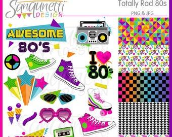 80s Clipart, eighties clipart, retro clipart, PNG, JPG, 80s digital art, instant download