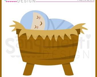 Baby Jesus Christmas Manger Clipart Religous Christan Graphic