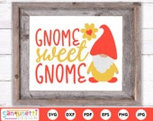 Gnome sweet gnome svg, home digital art cutting files for silhouette and cricut
