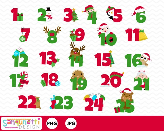 25 Days of Christmas Clipart Christmas Numbers Christmas | Etsy