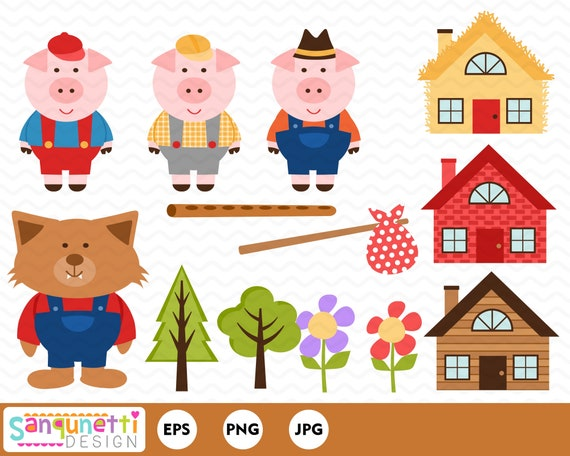 Image result for 3 little pigs clipart images