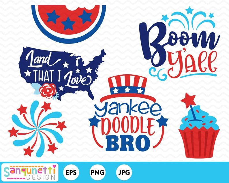 4th of July clipart patriotic lettering USA summer digital ...