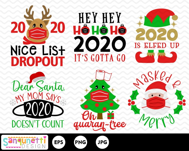 2020 funny  masked christmas clipart social distancing  etsy