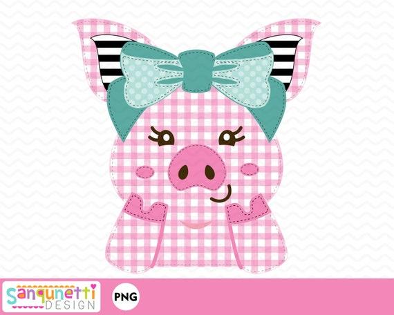 printable farm girl design pig with bow sublimation design PNG digital art