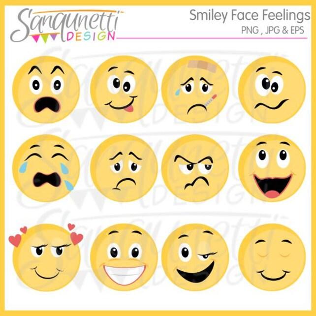 Smiley-Gesicht-Gefühle-Clipart ClipArt Emoji Emoji Clipart | Etsy