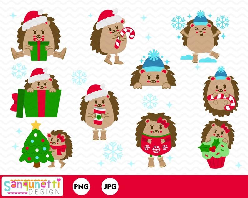 e7462abb2c960 Christmas hedgehog clipart Christmas character clip art