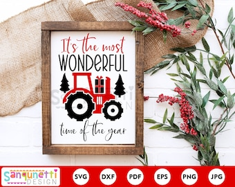 The most wonderful time of the year tractor SVG, Christmas farmhouse cutting file, silhouette and cricut
