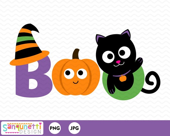 Boo Halloween Clipart Ghost And Witch Digital Art Letteirng Instant Download