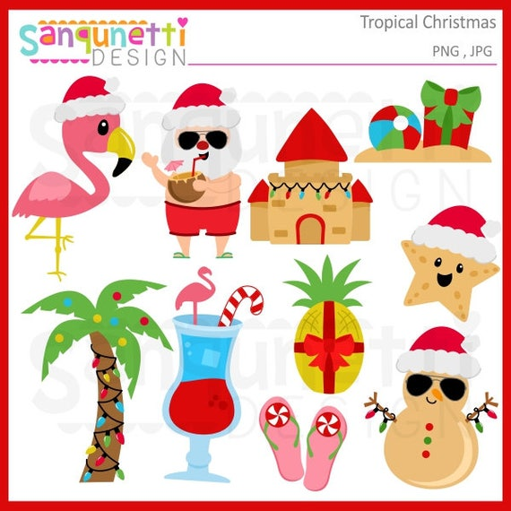Tropical Beach Christmas clipart holiday clip art graphics ...