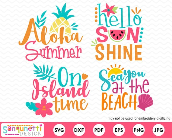 Tropical Summer Svg Bundle Beach Cutting Files For Silhouette Etsy