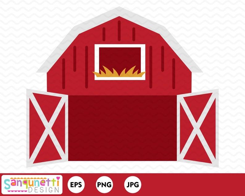Open Barn Clipart Farm Digital Art Instant Download Etsy