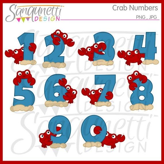 Krab Nummers Clipart Verjaardag Nummers Clipart Strand Etsy