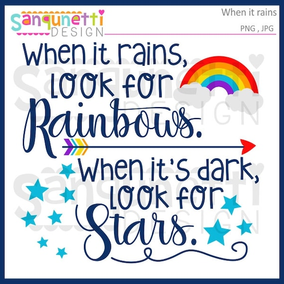 when it rains look for rainbows lettering clipart rainbow etsy
